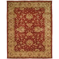 """Traditional Crimson/Ivory Hand-Knotted Area Rug (2'6"""" x 10')"""