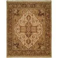 """Oushak Ivory/Brown Hand-Knotted Area Rug (2'6"""" x 10') - 2'6"""" x 10'"""