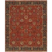 Sonata Antique Rust/Black Wool Handmade Runner Rug