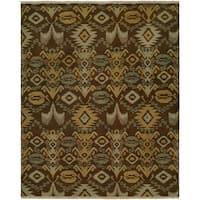 Caspian Brown Hand-kontted Soumak Wool Runner Rug (2'6 x 12')
