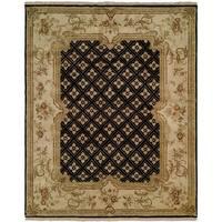 Tuscany Black/Ivory Handmade Wool Runner Rug - 2'6 x 12'
