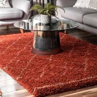 nuLOOM Luxuries Soft and Plush Moroccan Trellis Rust Shag Area Rug - 7' 6'' x 9' 6''