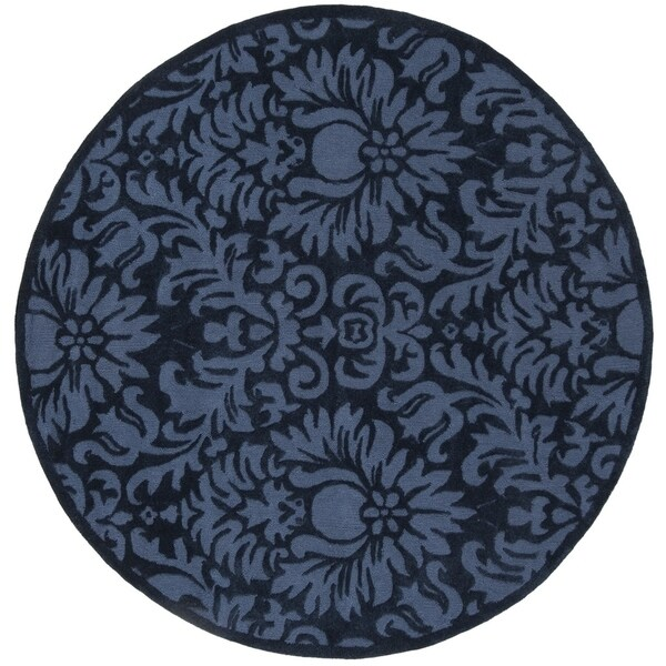 Safavieh Hand-Hooked Total Performance Traditional Navy Rug (8' x 8' Round) - 8' x 8' Round
