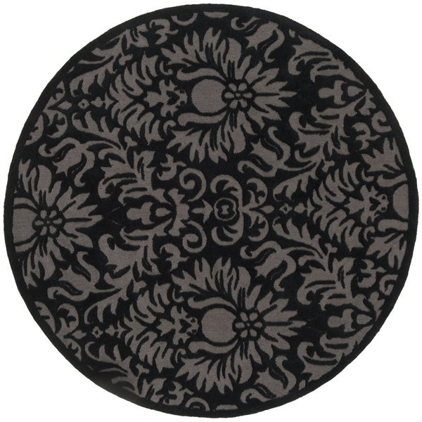 Safavieh Hand-Hooked Total Performance Traditional Black Rug (8' x 8' Round) - 8' x 8' Round