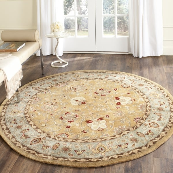 Safavieh Hand-Hooked Total Performance Traditional Copper / Moss Rug (8' x 8' Round)