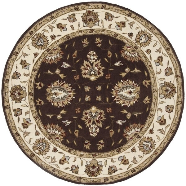 Safavieh Hand-Hooked Total Performance Traditional Brown / Ivory Rug (8' x 8' Round) - 8' x 8' Round