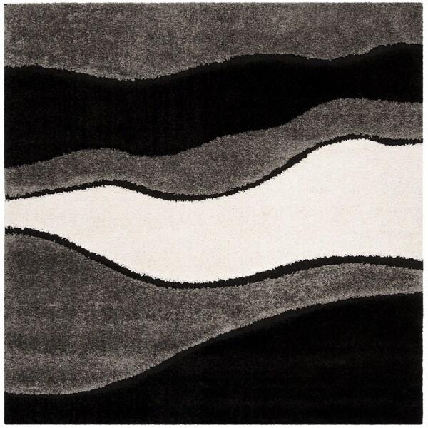"""Safavieh Shag Grey / Black Rug (6'7' x 6'7' Square) - 6'-7"""" x 6'-7"""" square"""