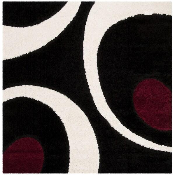 Safavieh Shag Black / Ivory Rug (6'7' x 6'7' Square)
