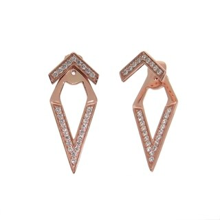 Eternally Haute 14k Rose Gold Pave Chevron Front Back Ear Cuff Jacket