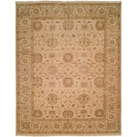 Traditional Ivory Hand-Knotted Area Rug (12' x 15') - 12' x 15'