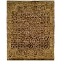 Tuscany Brown / Gold Hand-Knotted Area Rug (12' x 18') - 12' X 18'