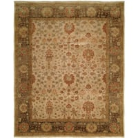 Traditional Ivory/Twilight Hand-Knotted Area Rug (12' x 15') - 12' x 15'
