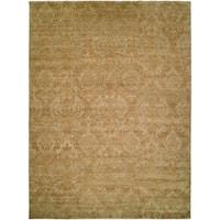 Royal Manner Derbyshire Light Green/Gold Wool Handmade Area Rug - 6' x 9'