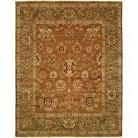 Oushak Goldy Brown/Green Handmade Wool Area Rug - 6' x 9'