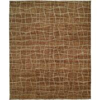 Jade Brown Hand-Knotted Area Rug (6' x 9') - 6' x 9'