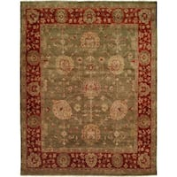Oushak Green/Rust Hand-Knotted Area Rug (6' x 9') - 6' x 9'