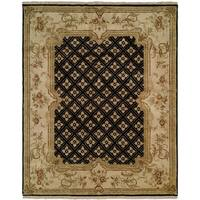 Tuscany Black/Ivory Handmade Wool Area Rug - 6' x 9'