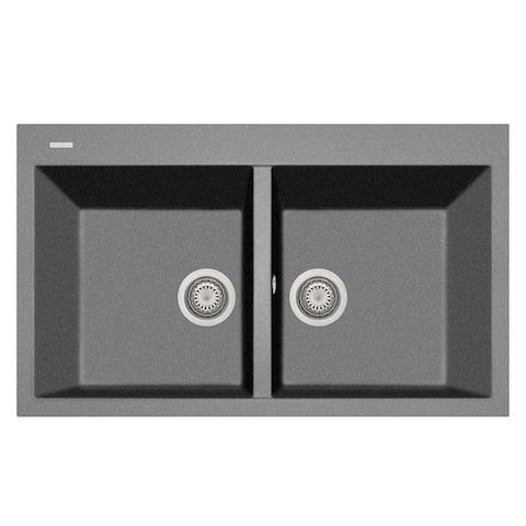 "Handmade Double Basin Granite Drop-In Sink - 34"" x 20"""