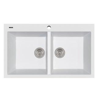 """LaToscana Plados 34"""" x 20"""" Double Basin Granite Drop-In Sink"""