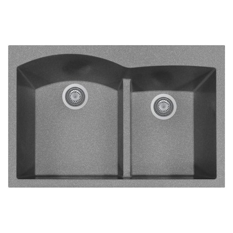 "Handmade Double Basin Granite Drop-In Sink - 33"" x 22"""
