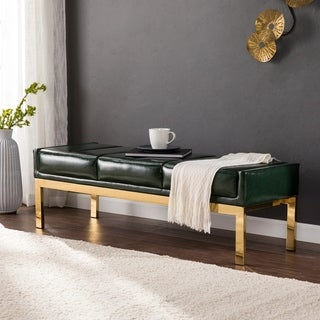 Silver Orchid Young Dark Green and Brass Upholstered Bench