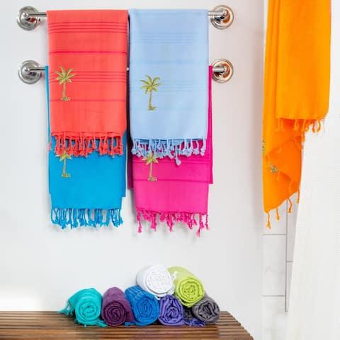 Authentic Pestemal Fouta Embroidered Palm Tree Turkish Cotton Bath/ Beach Towel