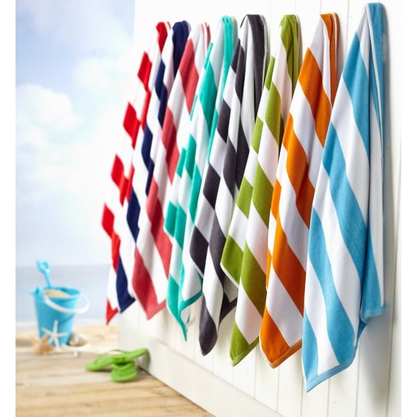 100% Cotton Cabana Stripe Oversize Velour Beach Towel