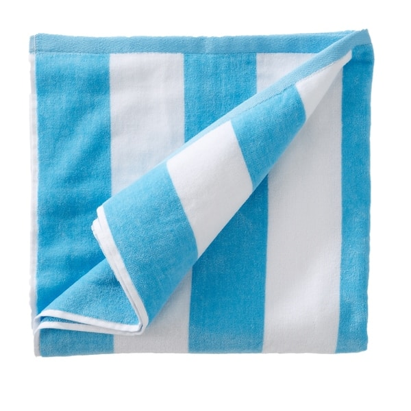 "Personalized Stripe Cabana  Velour Beach Towel 28/"" x 60/""  Blue Green Hot Pink"