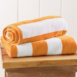 100% Cotton Cabana Stripe Velour Beach Towel (More options available)
