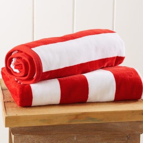 100% Cotton Cabana Stripe Velour Beach Towel