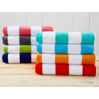 100% Cotton Cabana Stripe Velour Beach Towel (2 options available)