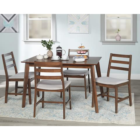 Simple Living Charlie 5-Piece Mid-Century Solid Rubberwood Dining Set
