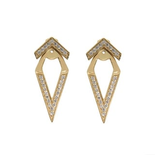 Eternally Haute 14k Gold Pave Chevron Front Back Ear Cuff Jacket