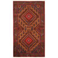 Handmade Herat Oriental Afghan Hand-knotted Tribal Balouchi Wool Rug - 3'7 x 6'4