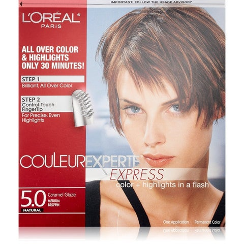 L'Oreal Paris Couleur Experte Express Hair Color + Highlights, Permanent 5.0 Natural Caramel Glaze Medium Brown