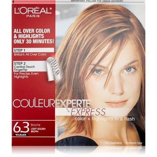 L'Oreal Paris Couleur Experte Express Hair Color + Highlights, Permanent 6.3 Warmer Brioche Light Golden Brown