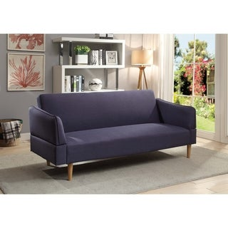 Acme Ellston Adjustable Futon Sofa in Blue Linen