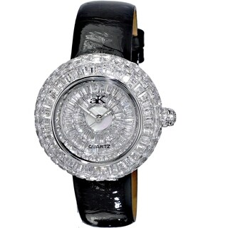 Adee Kaye Womens Crystal Embellished Watch-Silver tone/Black strap