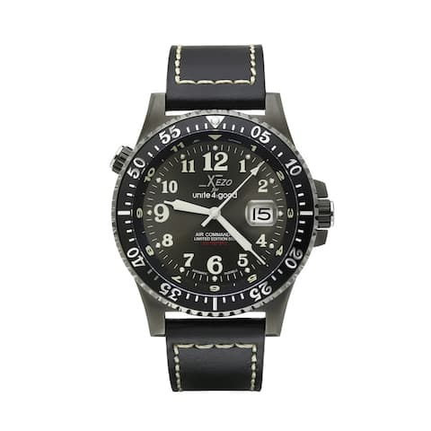 Xezo Air Commando D45-GL Japanese-Automatic Watch. Leather Band