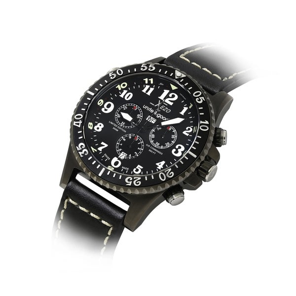 Shop xezo air commando d45 lb swiss quartz watch leather band chronograph on sale free for Xezo watches