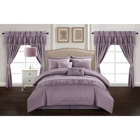 Chic Home Tinos Plum Ruched Ruffled 20-Piece Bed in a Bag Set