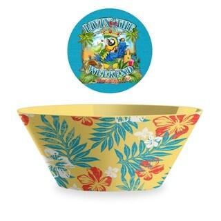 Hibiscus Palm Yellow Serve Bowl