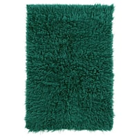 Hand Woven New Flokati 1400grams Emerald Green 100% Wool (2'4 x 4'3) - 2'4 x 4'4