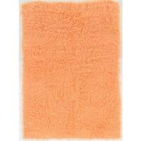 Hand Woven New Flokati 1400grams Sherbet 100% Wool (2' X 3') - 2' x 3'