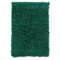 Hand Woven New Flokati 1400grams in Emerald Green 100% Wool ( 5'x 8' ) - 5' x 8'