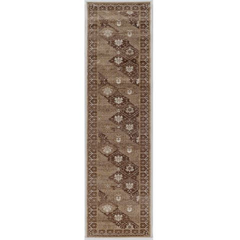 Linon Vintage Collection Belouch Beige Rug (2' X 10') - 2' x 10' Runner