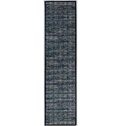 Linon Vintage Collection Illusion Navy Rug (2' X 10') - 2' X 10'