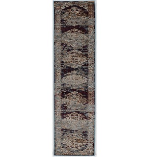 Linon Vintage Collection Nain Blue and Red Rug (2' X 10')