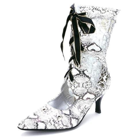 Ann Creek Womens Tootie Black-White Animal Print Mesh Boots