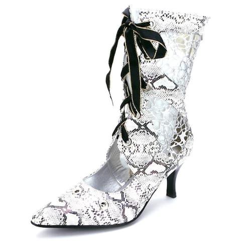 Ann Creek Women's 'Tootie' Black-White Animal Print Mesh Boots